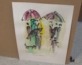 rainy dogwalk - Original Drawing with colored Ink and Bambu-Stick - free shiping 11,81 x 8,27 inc pink gold landscape