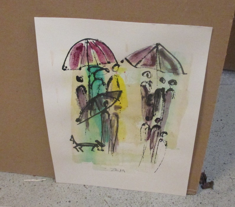 rainy dogwalk  Original Drawing with colored Ink and image 0