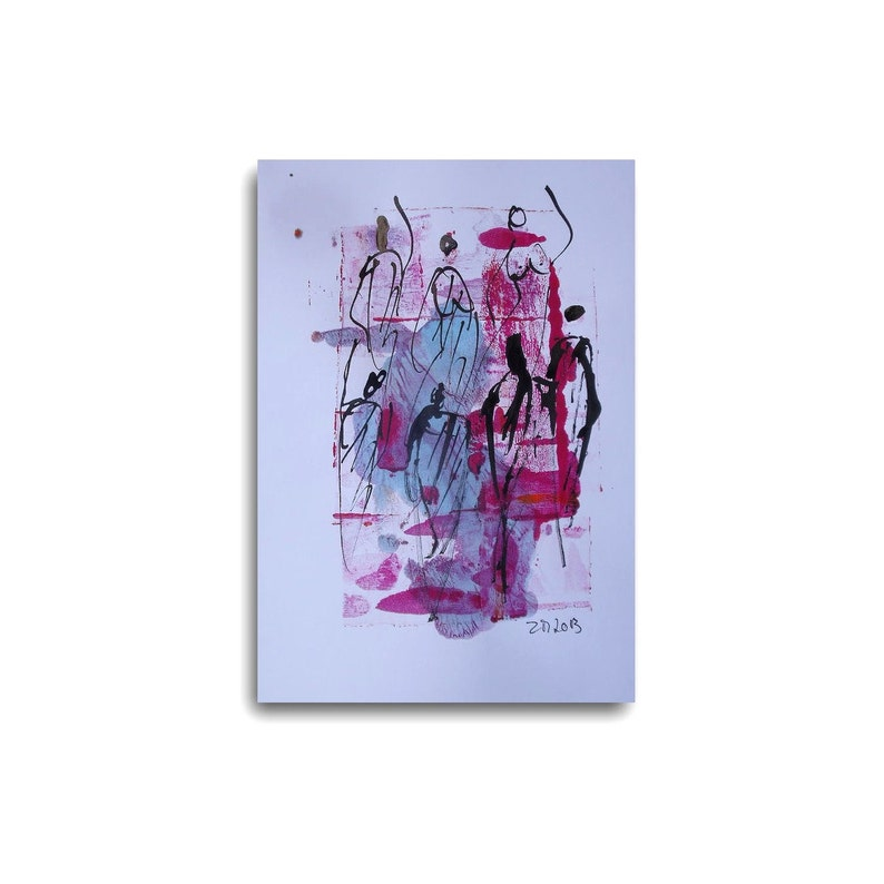 Dance  Original Drawing Radiant Orchid  free shiping image 0
