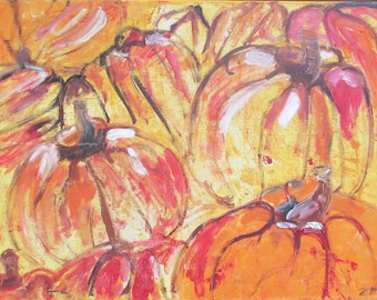 Pumpkins Painting, Art, Collage, Red Canvas, Original Drawing by Sonja Zeltner-Müller