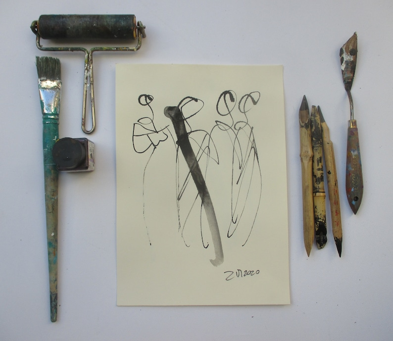 dancing girls  Original Drawing with colored Ink and image 0
