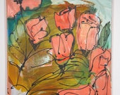 red flowers and tulips Canvas / Drawing 19,74 x 15,74 inch