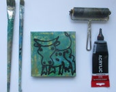 little expressive cow Original-Drawing on Canvas