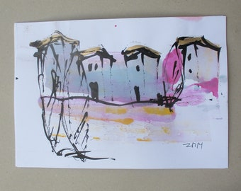 Mediterran  - Original Drawing with colored Ink and Bambu-Stick - free shiping 11,81 x 8,27 inc pink purplelandscape