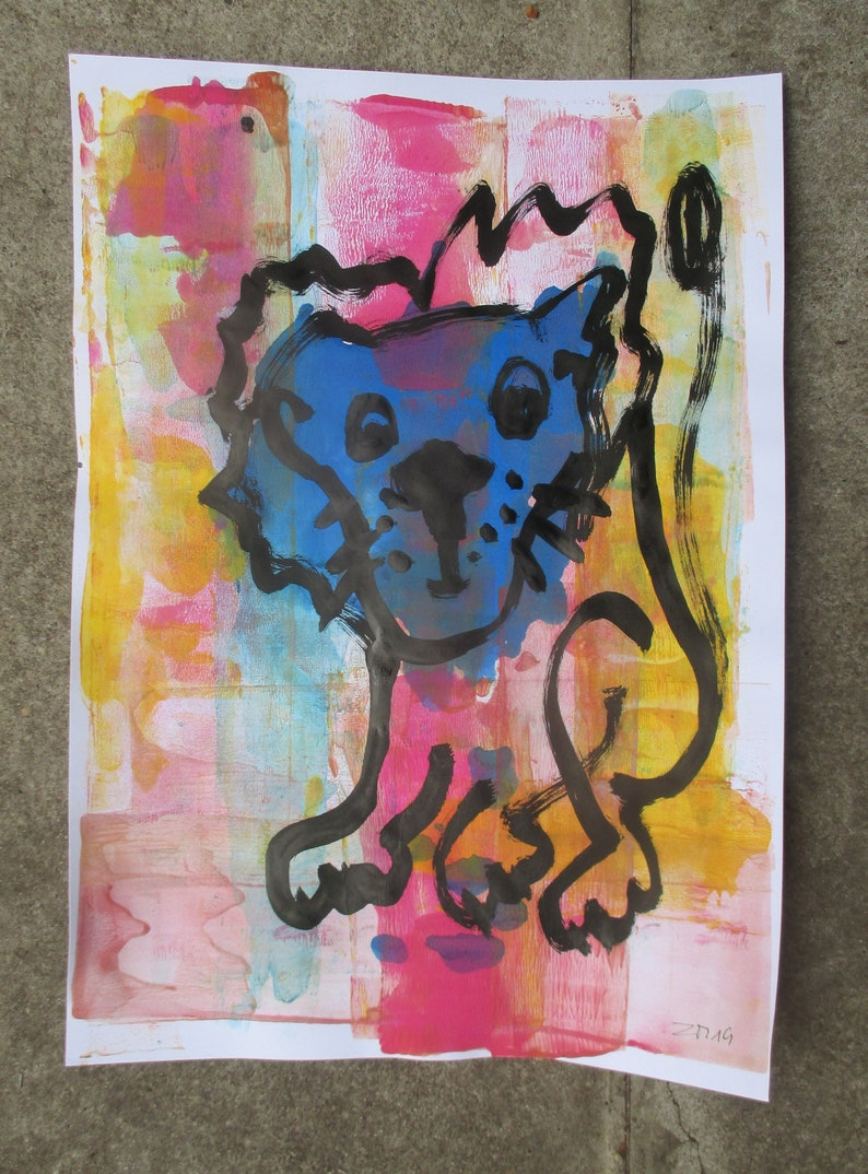 crazy lion drawing on paper image 0