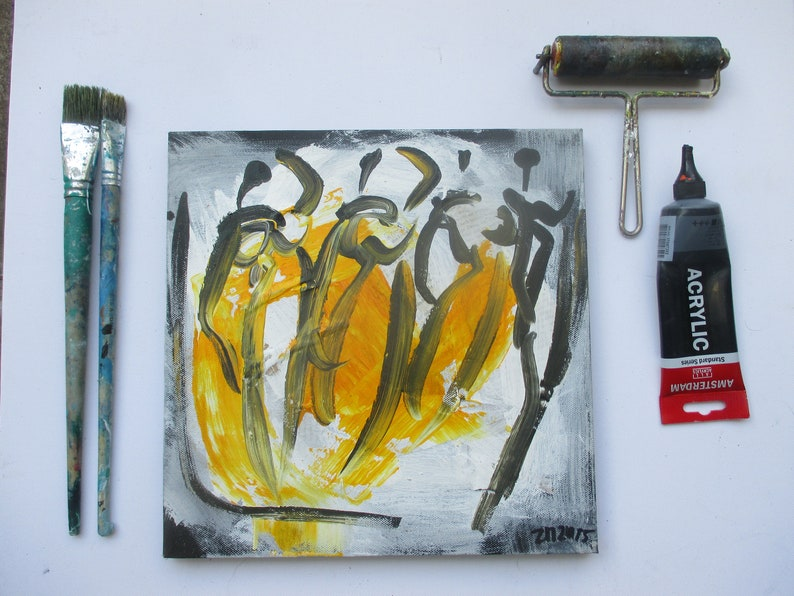 Dancer on mixed media collage Canvas / Drawing image 0
