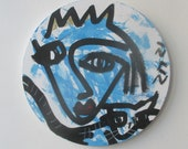 crazy blue queen with cat Original Drawing on round Canvas / art acryl free shiping inch 5,91x5,91x0,79