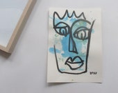 expressive queen - Original Drawing with colored Ink and Bambu-Stick - free shiping 11,81 x 8,27 inc pink gold landscape