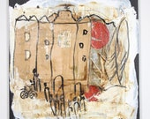 Coffee Town landscape Italy Collage / black Canvas / Drawing 15,74 x 15,74 inch upcyling art