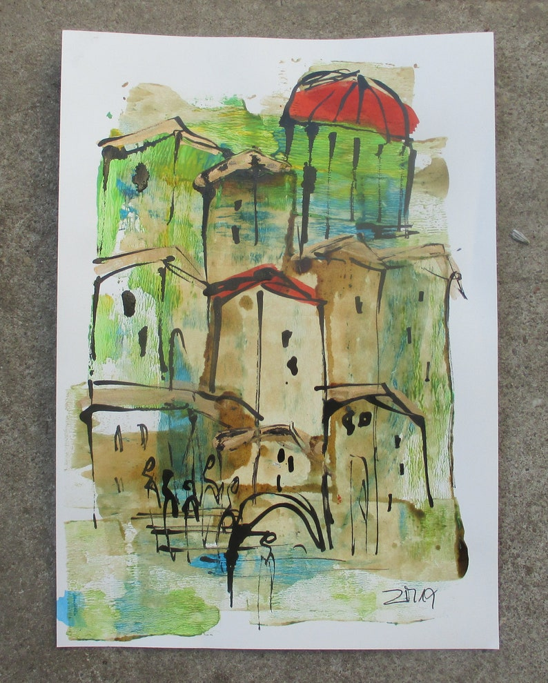 little italian coffee town  Original Drawing with colored Ink image 0
