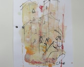 people in italy - Original Drawing with colored Ink and Bambu-Stic 1,81 x 8,27 inc pink gold landscape