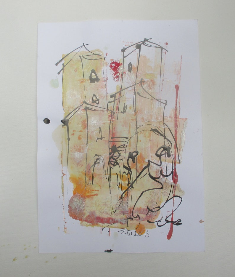 people in italy  Original Drawing with colored Ink and image 0
