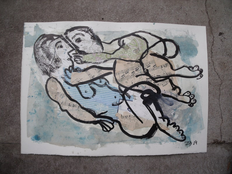 abstract blue lovecouple  expressive coffee Original Drawing image 0