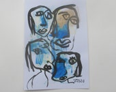 faces - Original Drawing free shiping - ink Gouache Aquarell sand rose 8,2x5,5 inch