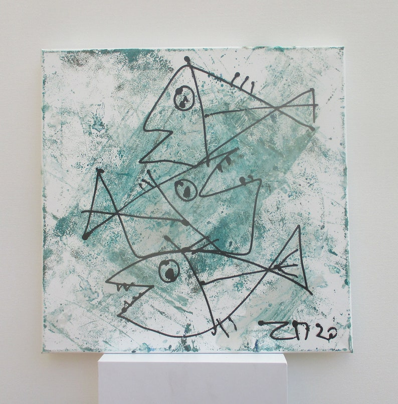 green girl expressive portrait Canvas / Drawing 157 x 1574 image 0