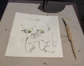 a funny cat kitten- Original Drawing with colored Ink and Bambu-Stick - 7.8 x 7,8 inch