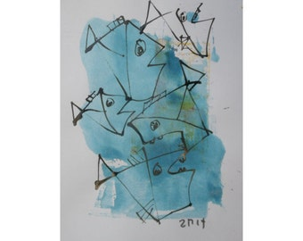 Original Drawing Fishes with colored Ink and Bambu-Stick - free shiping 11,81 x 8,27 inch blue
