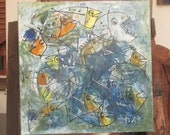 abstract crazy fishes painting - unique expressive informel painting