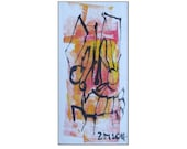 Lobster Original Drawing on Canvas / Acryl black red - free shiping 7,87 x 3,93 inch