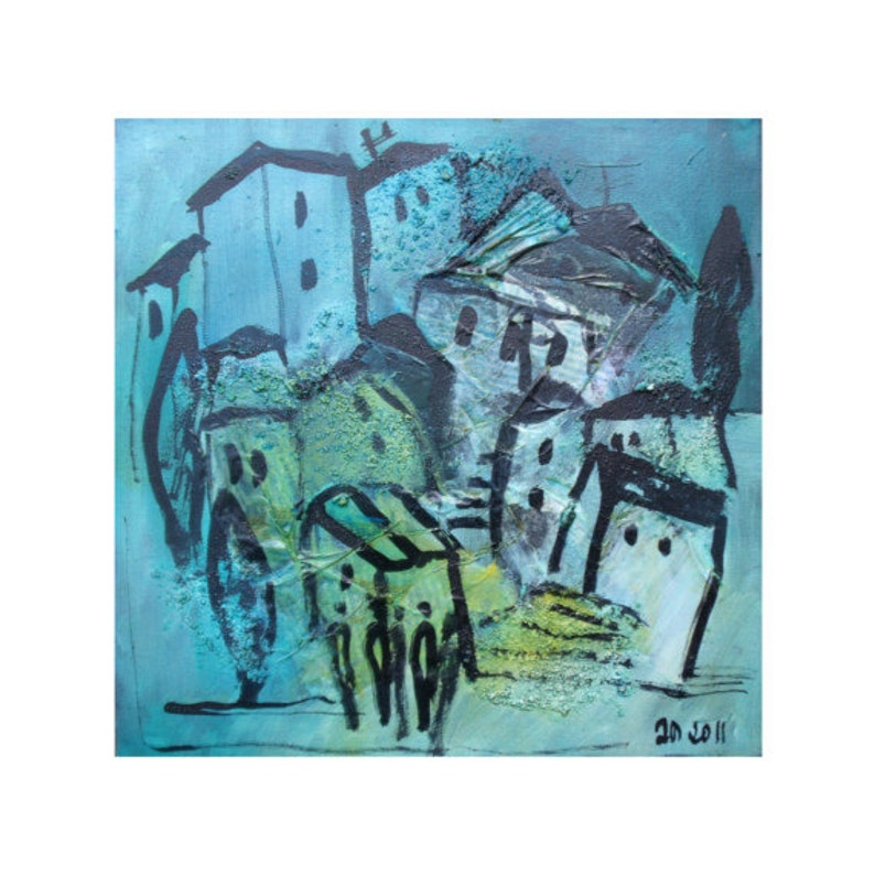 Town landscape Italy   Collage / black Canvas / Drawing 1574 image 0