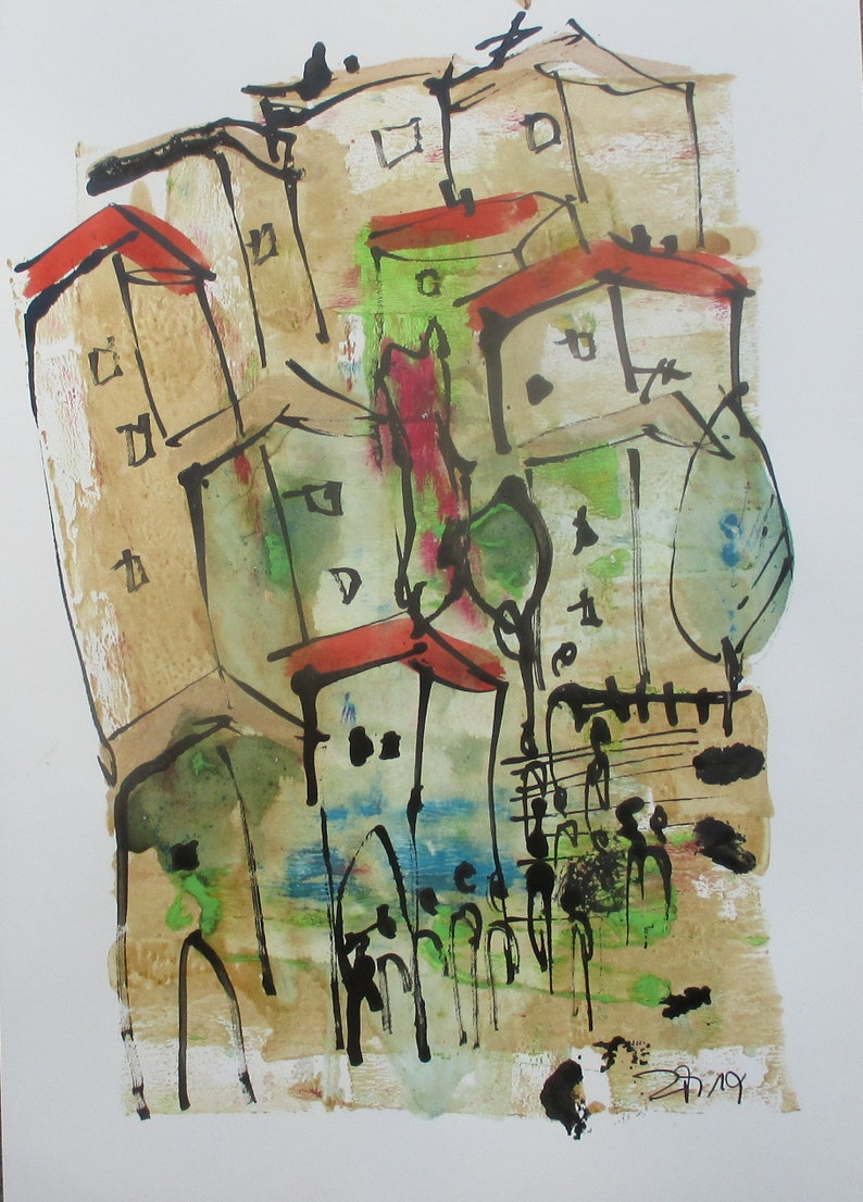 little italian coffee town  Original Drawing with colored Ink image 1