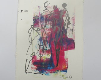 violet girls - Original Drawing with colored Ink and Bambu-Stick - free shiping blue 8,27 x 5,51i
