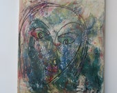 art brut girl painting - unique expressive painting mintgreen