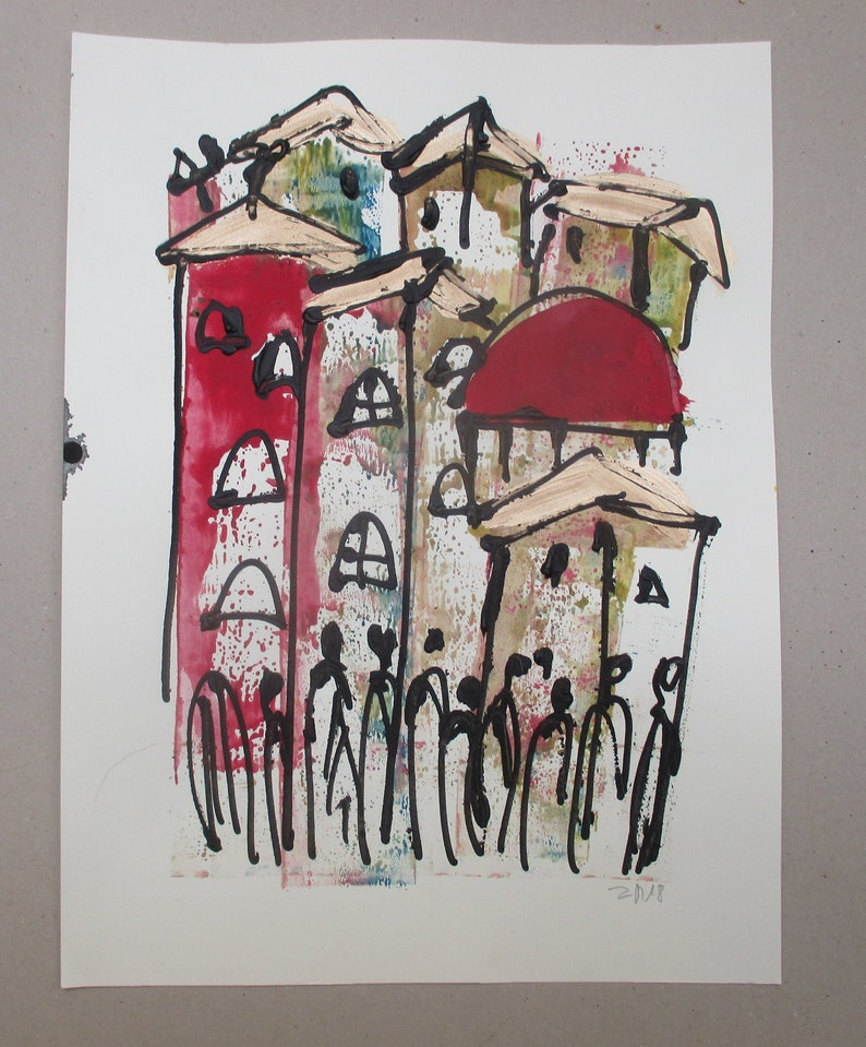 italy tuscany scene expressive coffee Original Drawing Ink image 0