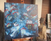 abstract blue city painting - unique expressive painting