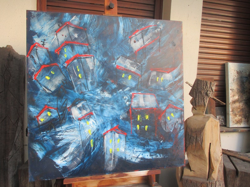 abstract blue city painting  unique expressive painting image 0