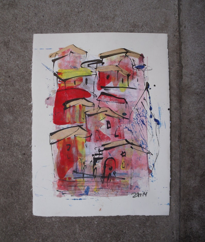 expressive little italian town Original Drawing with colored image 0