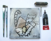 grumpy Cat on mixed media collage Canvas / Drawing