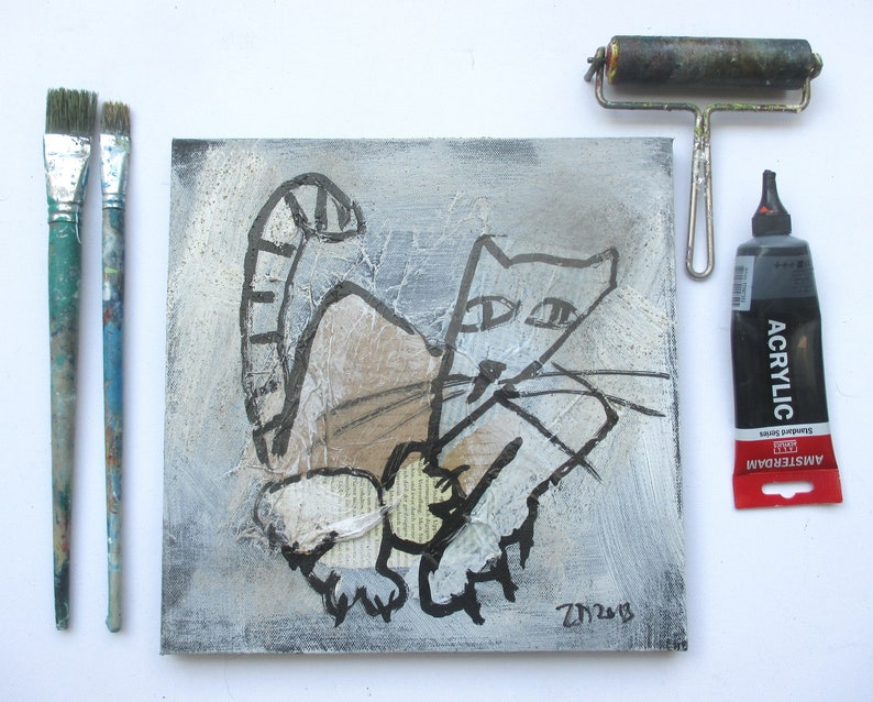 grumpy Cat on mixed media collage Canvas / Drawing image 0