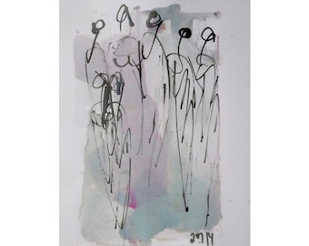 pastel dance  - Original Drawing with colored Ink and Bambu-Stick - free shiping  11,81 x 8,27 inch
