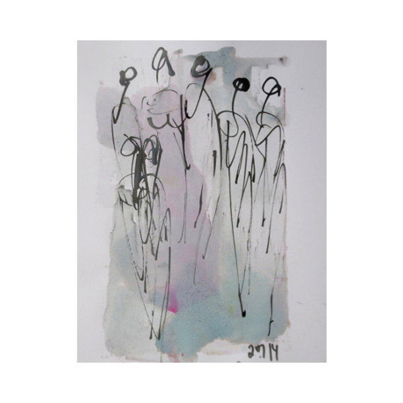pastel dance   Original Drawing with colored Ink and image 0