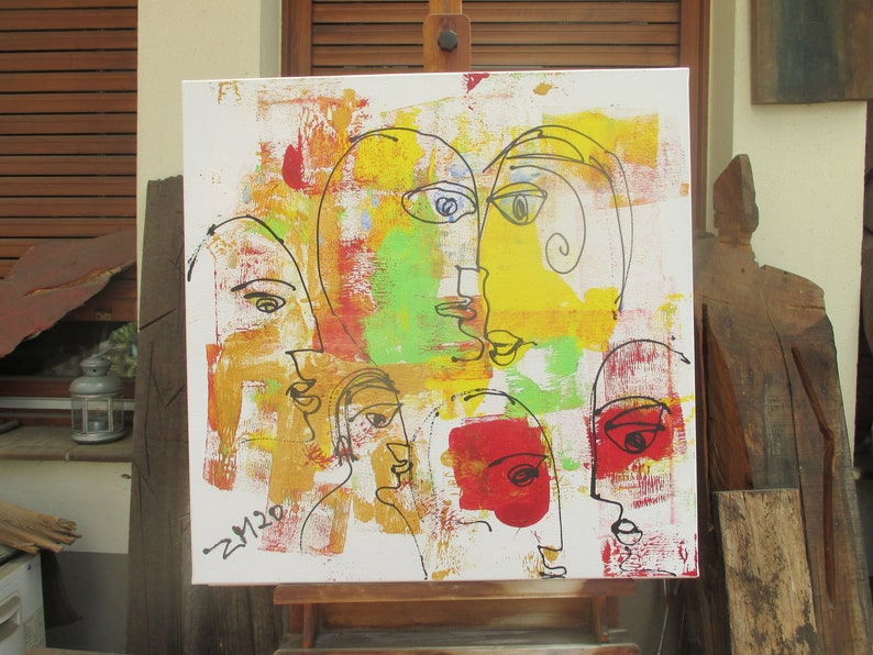 abstrat faces kiss painting  unique expressive painting image 0