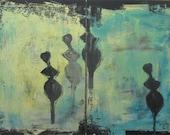 streetart people stencil painting Original Acryl / Canvas / Drawing 2x27,56 x 19,69 Inch