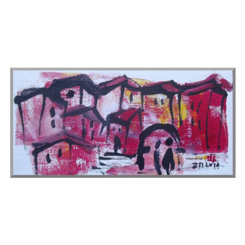 Landscape Original Drawing on Canvas / Acryl  black red pink image 0