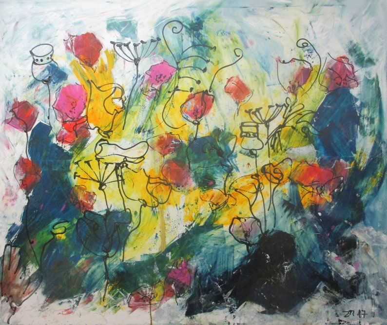 Flowerpower Original Drawing Oil /  Canvas / art free shiping image 0