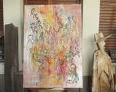 People Original Drawing Oil / Canvas / art free shiping xl 27,56 x 39,37 inch