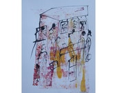 artmarket - Original Drawing with colored Ink and Bambu-Stick - 11,81 x 8,27 inch free shiping red orange