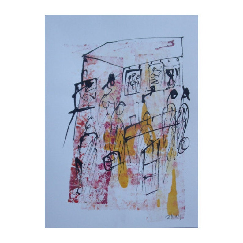 artmarket  Original Drawing with colored Ink and Bambu-Stick image 0