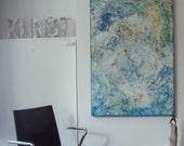 abstract modern painting Original Oil / Canvas / Drawing xl- 39,18 x 27,56 inch free shiping brightblue grey nature mixedmedia