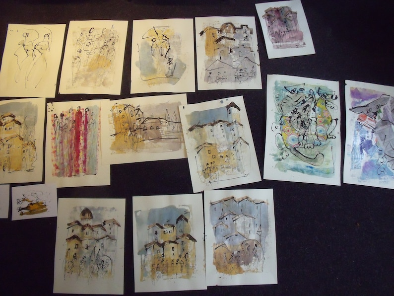 expressive coffee Original Drawing Ink and Bambu-Stick free shiping 11,81 x 8,27 inc pink gold landscape abstract greyhound dogs