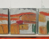 Toscana Original Drawing on Collage / Canvas / turqouise green free shiping 3x 7,8x7,98 inch