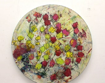 Flowers Original Drawing Oil /  Canvas / art round canvas 31,5 inch