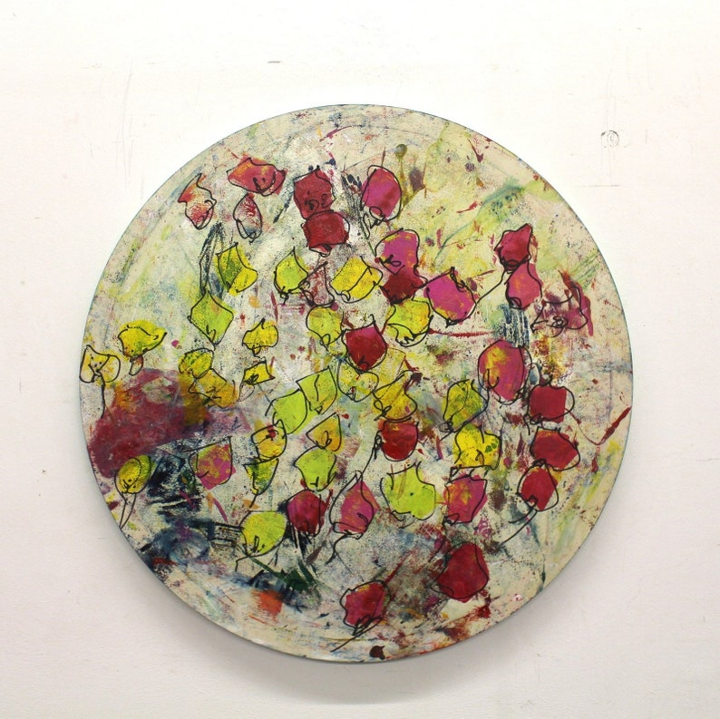 Flowers Original Drawing Oil /  Canvas / art round canvas 355 image 0