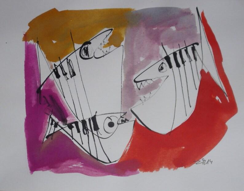 jazzfishes  Jazztheme expressive coffee Original Drawing Ink image 0