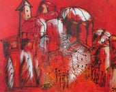 Painting, Art, Toscana, Collage, Red Canvas, Original Drawing by Sonja Zeltner-Müller