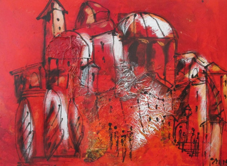 Painting Art Toscana Collage Red Canvas Original Drawing image 0